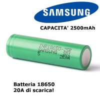 Batteria Samsung INR18650-25R 2500mAh - 20A