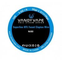 Filo resistivo VANDY VAPE Superfine MTL Fused Clapton Wire - Ni80 (30ga*2+38ga) - 3M